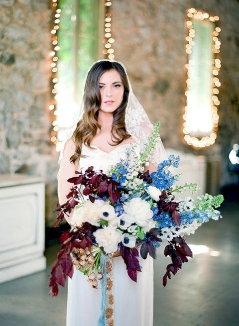 Foxglove and Anemone Bouquet | Samantha Kirk Photography | Blue, Burgundy, and Bronze Spring Wedding