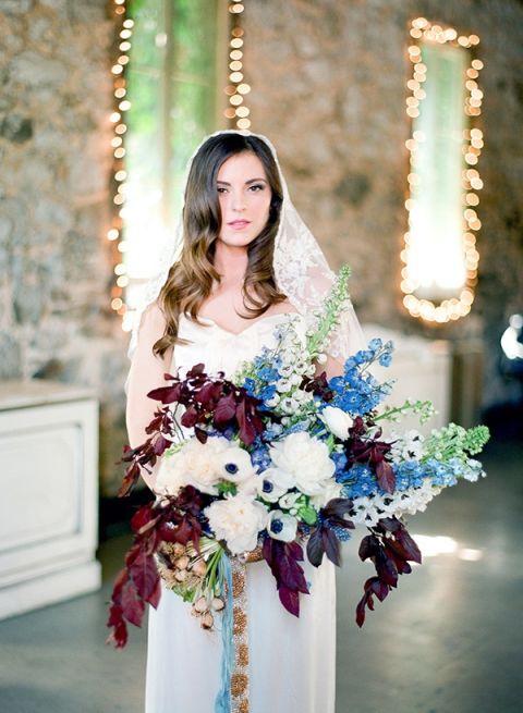 Foxglove and Anemone Bouquet | Samantha Kirk Photography | Blue, Burgundy, and Bronze Spring Wedding