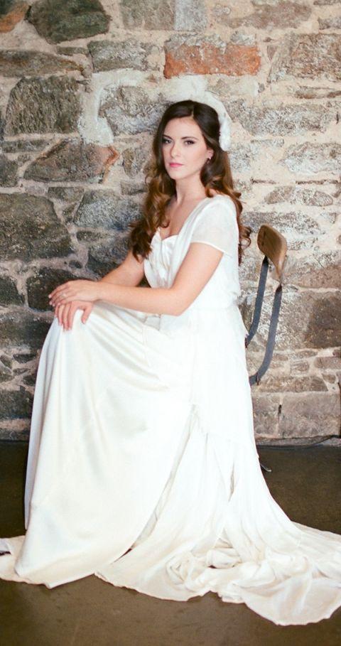 Graceful Cap Sleeve Wedding Dress | Samantha Kirk Photography | Blue, Burgundy, and Bronze Spring Wedding