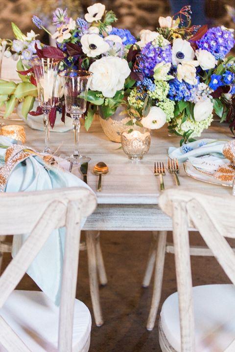 Blue burgundy and bronze spring wedding styling hey