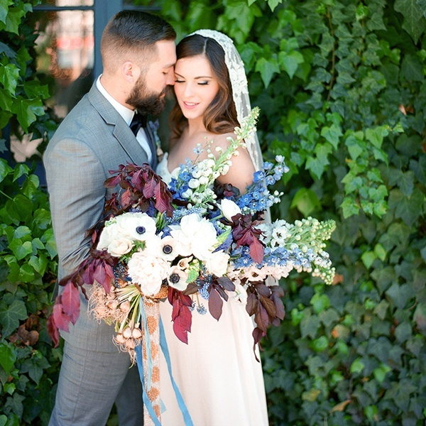 Blue, Burgundy, and Bronze Spring Wedding Styling | Hey ...