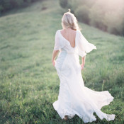 Flowing Chiffon Wedding Dress | Heather Payne Photography | Blue and Yellow Natural Mountain Wedding