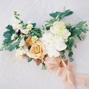Peach and Yellow Organic Wedding Dress   Heather Payne Photography   Blue and Yellow Natural Mountain Wedding