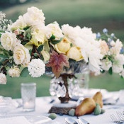 Organic Centerpiece in a Vintage Silver Compote | Heather Payne Photography | Blue and Yellow Natural Mountain Wedding