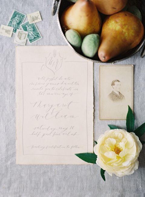 Elegant Calligraphy Monogram Invitation