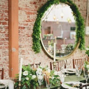 Green and White Wedding Reception with Exposed Brick | onelove photography | Modern Metallic Botanical Wedding in Emerald and Bronze