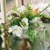 Fern and Anemone Centerpiece | onelove photography | Modern Metallic Botanical Wedding in Emerald and Bronze