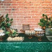 Glam Sequin Dessert Display | onelove photography | Modern Metallic Botanical Wedding in Emerald and Bronze