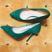 Green Velvet Shoes | onelove photography | Modern Metallic Botanical Wedding in Emerald and Bronze