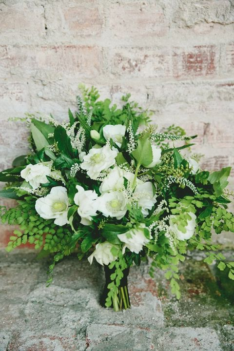 Lush Green and White Fern Bouquet