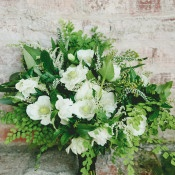Lush Fern and Anemone Bouquet | onelove photography | Modern Metallic Botanical Wedding in Emerald and Bronze