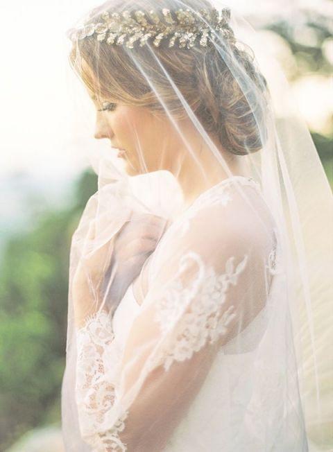 Veiled Bride with Golden Laurel Crown | Brandi Smythe Photography | Ethereal Neutral Wedding Ideas for Summer