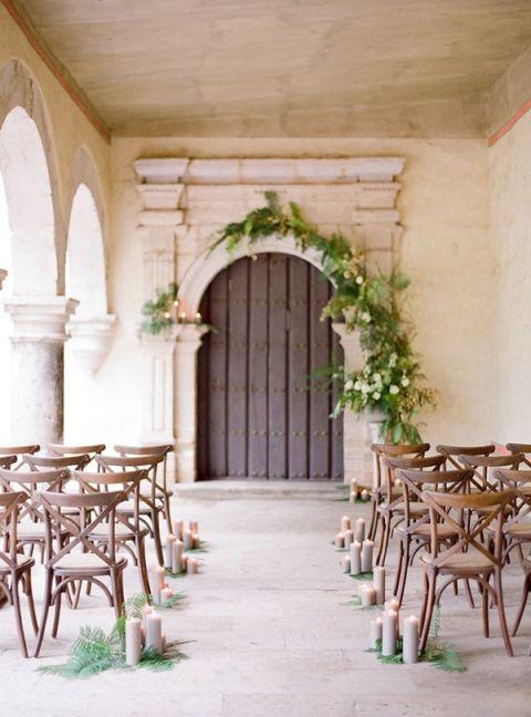 Elegant Ceremony with Lush Fern Decor | Jose Villa Photography | Ethereal Neutral Wedding Ideas for Summer