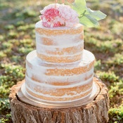 Gold Sparkle Happy Cake Topper | Amanda Hendrickson Photography | Blush and Gold Boho Bride at Magic Hour