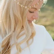 Loose Waves and a Gold Chain Headpiece | Amanda Hendrickson Photography | Blush and Gold Boho Bride at Magic Hour