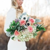 Rose, Hydrangea, and Aneone Bouquet | Amanda Hendrickson Photography | Blush and Gold Boho Bride at Magic Hour