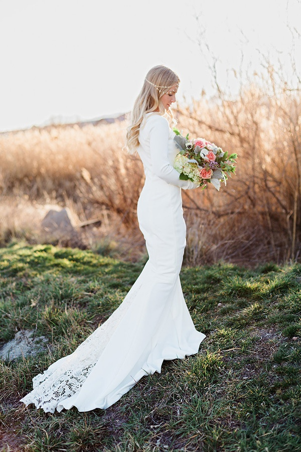 Blush and gold boho bride at magic hour hey wedding lady for Sleek wedding dresses with sleeves