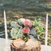 Flowers and Candles for a Rustic Wedding | Amanda Hendrickson Photography | Blush and Gold Boho Bride at Magic Hour