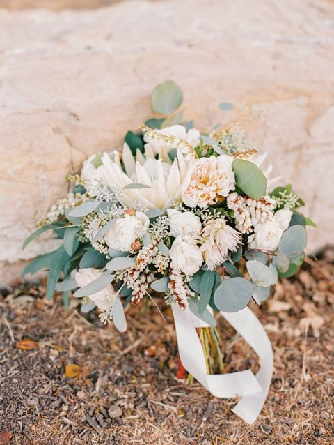 Whimsical Botanical Bouquet in Blush, Ivory, and Dusty Green