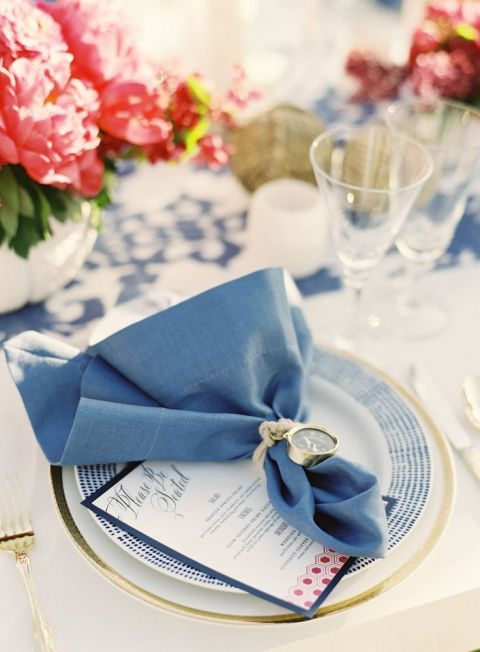 Elegant Summer Place Setting in Vibrant Blue | Jen Huang Photography | Summer Sparkle - Peony and Sequin Wedding Ideas in Coral, Ivory, and French Blue