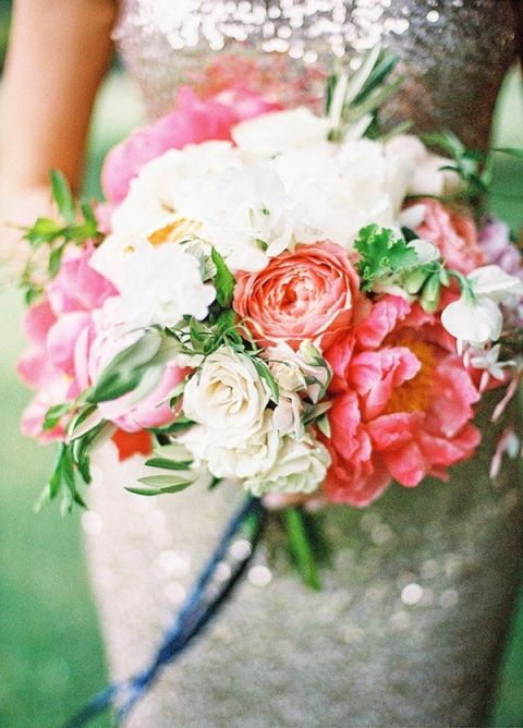 Lush Summer Wedding Bouquet with a Sequin Dress | Coco Tran Photography | Summer Sparkle - Peony and Sequin Wedding Ideas in Coral, Ivory, and French Blue