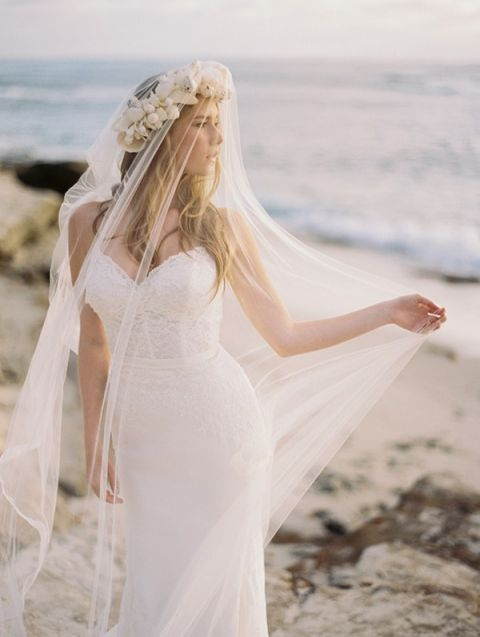 Sea Goddess with a Crown of Shells | Katie Grant Photography | The Perfect Wedding Dress for a Beach Bride!
