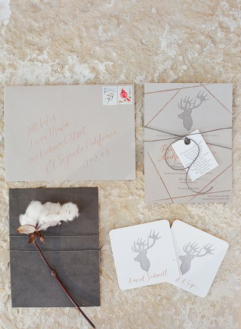 Natural Linen and Antler Stationery Suite | Diana McGregor Photography | Luxurious Autumn Feast at a Malibu Winery