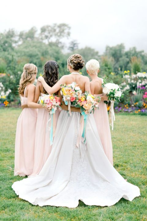 Chic Bridesmaids with Bright Summer Bouquets | Brumley and Wells Photography | Bright and Colorful Preppy Summer Wedding