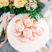 Macarons with Gold Initials and their Engagement Date | Dana Fernandez Photography | The Most Romantic Styled Proposal in Blush and Gold