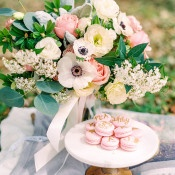 Pink Macarons and a Lush Spring Bouquet | Dana Fernandez Photography | The Most Romantic Styled Proposal in Blush and Gold