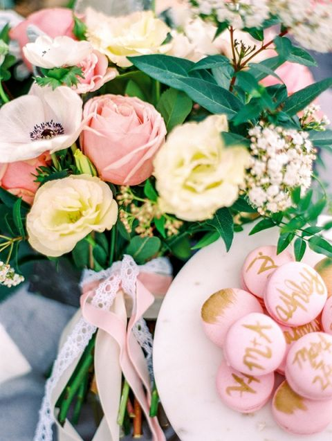 Macarons with Gold Calligraphy | Dana Fernandez Photography | The Most Romantic Styled Proposal in Blush and Gold