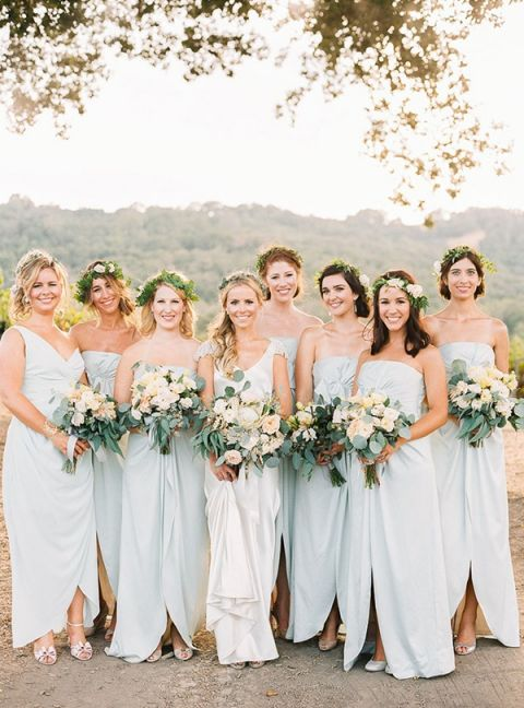 Beautiful Bridesmaids With Greenery Crowns | Danielle Poff Photography | Refreshing Summer  Wedding Ideas Photography | Refreshing
