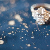 Vintage Diamond Cluster Engagement Ring | Megan Robinson Photography and Leslie Dawn Events | Candlelight Winter Wedding Ideas in Green and White