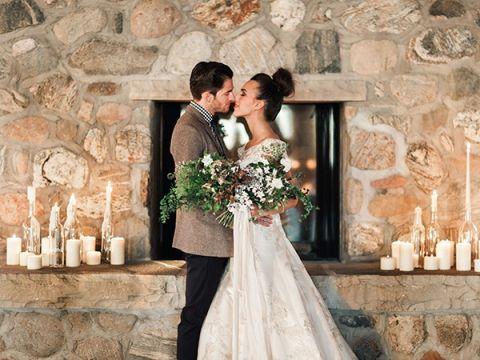 Winter Wedding Ideas 61 Cool Stone Fireplace Wedding Portraits