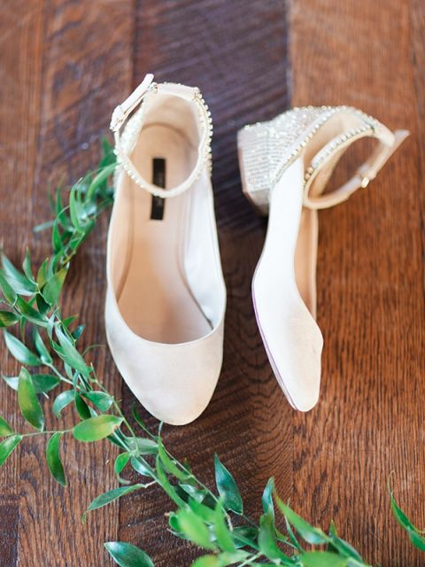 Sparkling White Bridal Shoes | Megan Robinson Photography and Leslie Dawn Events | Candlelight Winter Wedding Ideas in Green and White