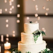 Simple Fern Adorned Wedding Cake | Megan Robinson Photography and Leslie Dawn Events | Candlelight Winter Wedding Ideas in Green and White
