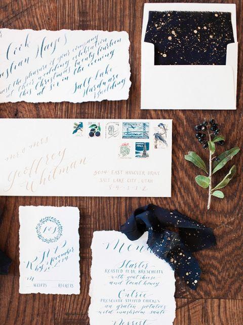 Cobalt and Gold Starry Night Invitation | Megan Robinson Photography and Leslie Dawn Events | Candlelight Winter Wedding Ideas in Green and White