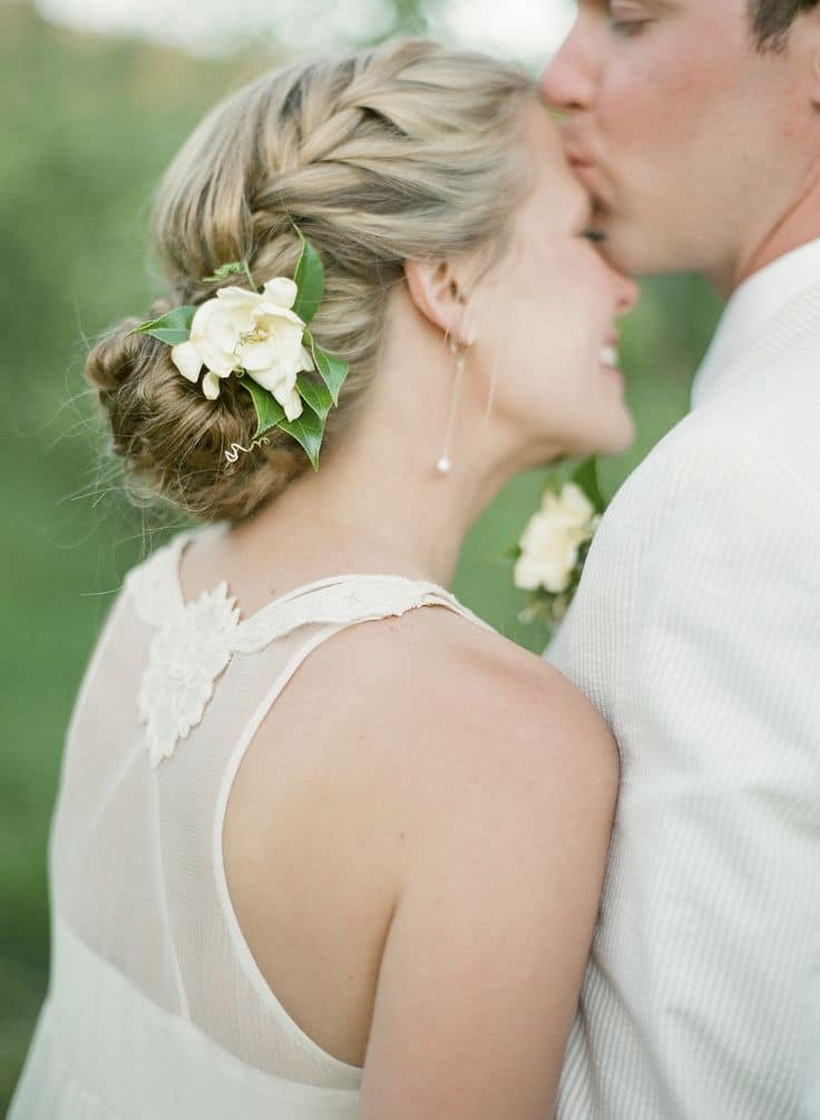 Bridal Braid with a Floral Headpiece | Zoe Lonergan Photography | Naturally Elegant Barn Wedding in Peach and Green