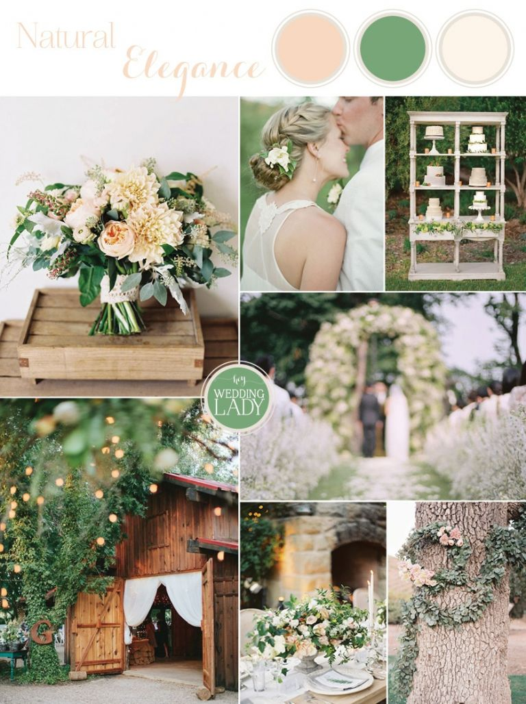 Naturally Elegant Barn Wedding in Peach and Green