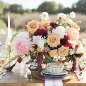 Fuchsia, Blush, and Gold Centerpiece | Carlie Statsky Photography | Luxe Bohemian Wedding in Jewel Tones