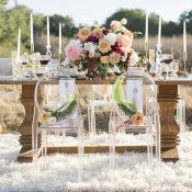 Bride and Groom Ghost Chair Decor | Carlie Statsky Photography | Luxe Bohemian Wedding in Jewel Tones