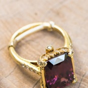 Vintage Gold and Amethyst Engagement Ring | Carlie Statsky Photography | Luxe Bohemian Wedding in Jewel Tones