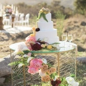 Modern Glam Wedding Cake Table | Carlie Statsky Photography | Luxe Bohemian Wedding in Jewel Tones