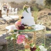 Modern Glam Wedding Cake Table | Carlie Statsky Photography | Luxe Bohemian Wedding in Jewel Tones