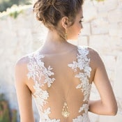 Backless Lace Amsale Wedding Dress | Carlie Statsky Photography | Luxe Bohemian Wedding in Jewel Tones