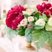 Crimson Peony and Fern Centerpiece | Connie Whitlock | Peony and Lace Outdoor Summer Wedding