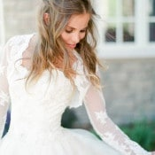 Long Sleeve Lace Wedding Dress by Augusta Jones | Connie Whitlock | Peony and Lace Outdoor Summer Wedding
