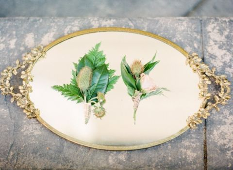 Fern and Thistle Boutonnieres