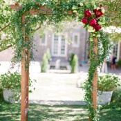 Greenery Garland Ceremony Arch | Connie Whitlock | Peony and Lace Outdoor Summer Wedding