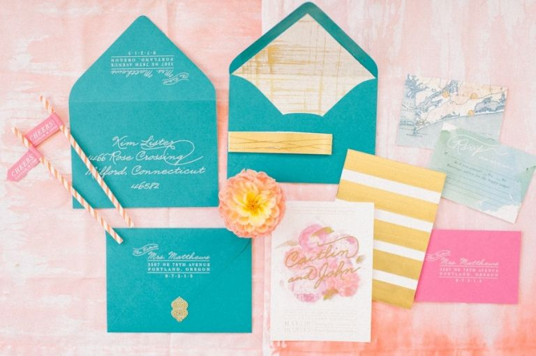 Aqua and Gold Stripe Wedding Invitation Suite
